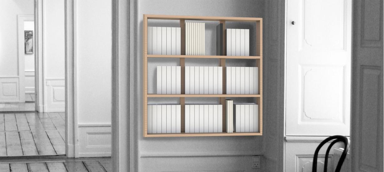 Bibliothèque suspendue étagère range livre design Wallbook