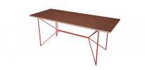 Table Wooply bois Noyer et Acier Rouge