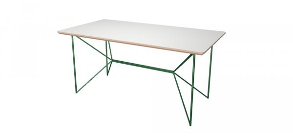 Table Sur Mesure Wooply - Blanc Nacré et Acier Vert - 160cm