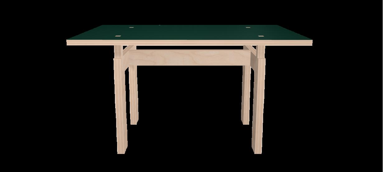 Table sur mesure LC vert conifer et bois brut - face