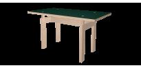 Table sur mesure LC vert conifer et bois brut - ortho
