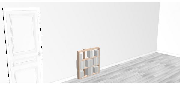 Bibliothèque bois WallBook Tout Bouleau - 80x82,5cm