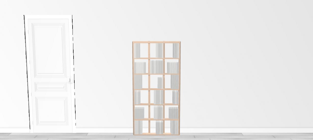 Bibliothèque design WallBook Tout Bouleau - 80x160,5cm