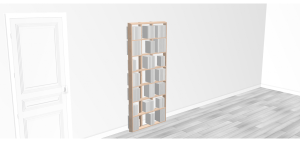 Bibliothèque bois WallBook Tout Bouleau - 80x186,5cm