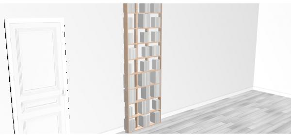 Bibliothèque bois WallBook Tout Bouleau - 80x238,5cm