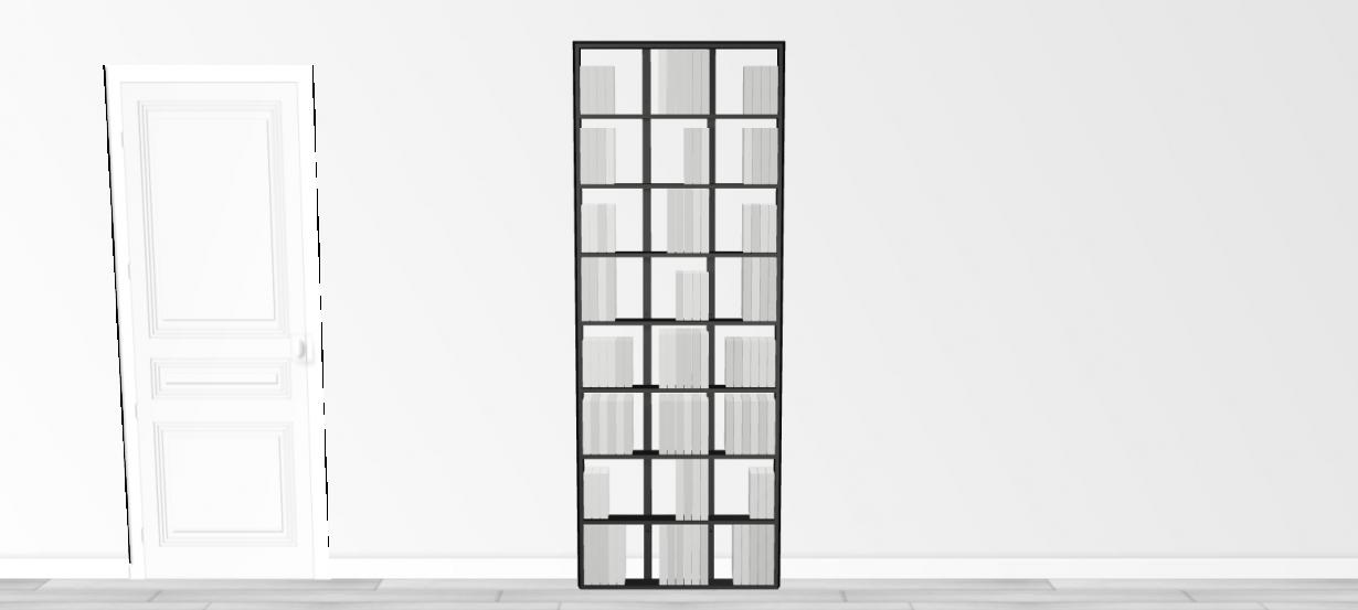 Bibliothèque noire WallBook Bois Laqué Noir - 80x212,5cm