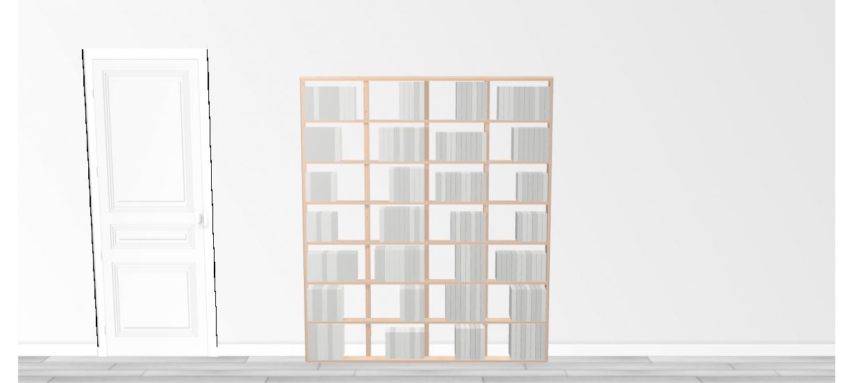 Bibliothèque bois WallBook Tout Bouleau - 160x186,5cm