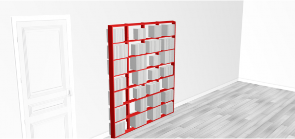 Bibliothèque bois WallBook Bois Laqué Rouge - 160x186,5cm