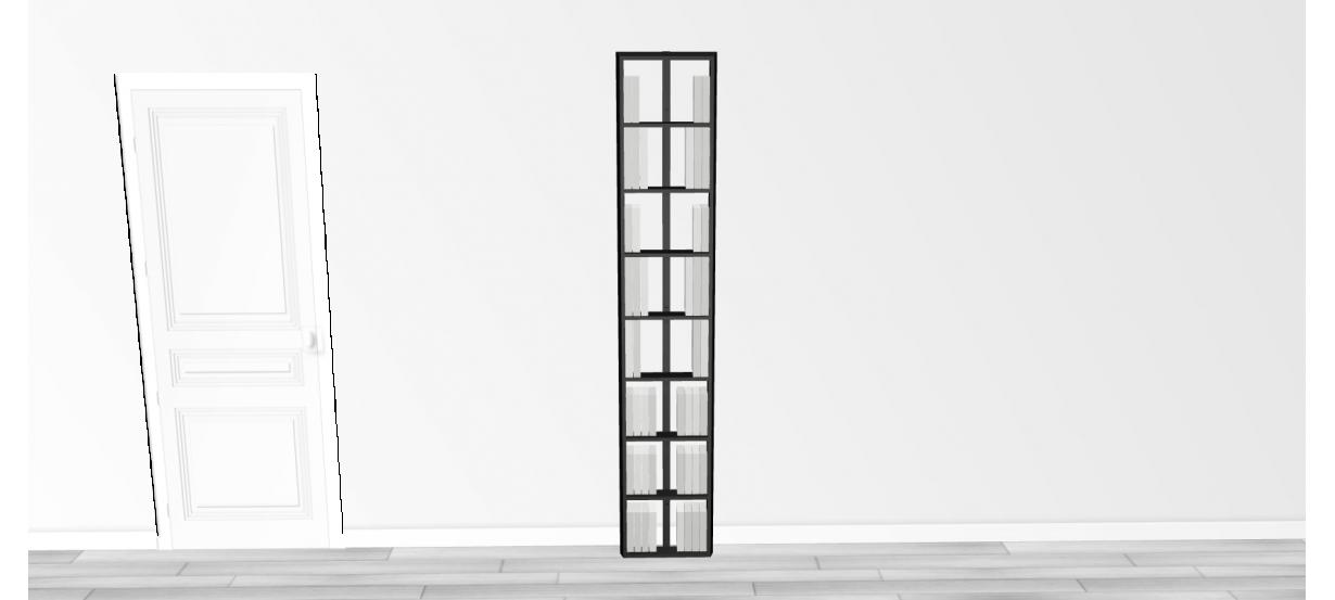 Bibliothèque noire Wallbook Bois Laqué Noir - 40x212,5cm
