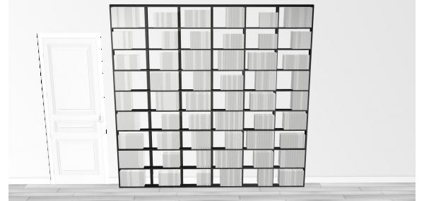 Bibliothèque noire Wallbook Bois Laqué Noir - 250x238,5cm
