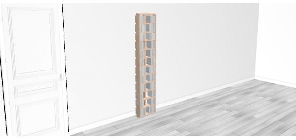 Bibliothèque bois Walldisc tout bouleau - 40x184,5cm