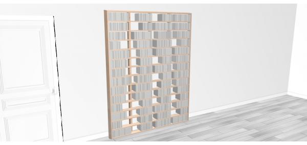 Bibliothèque bois Walldisc tout bouleau - 150x214,5cm