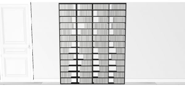 Bibliothèque noire Walldisc bois laqué noir - 150x214,5cm