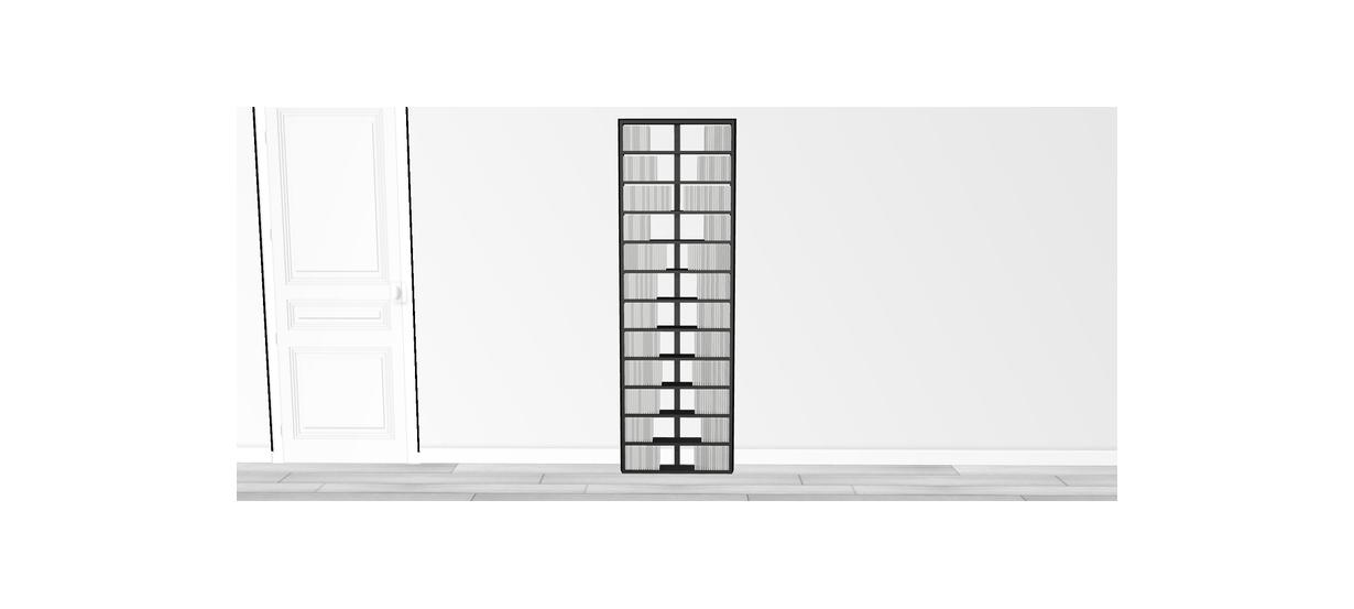 Bibliothèque noire Walldisc bois laqué noir - 60x184,5cm