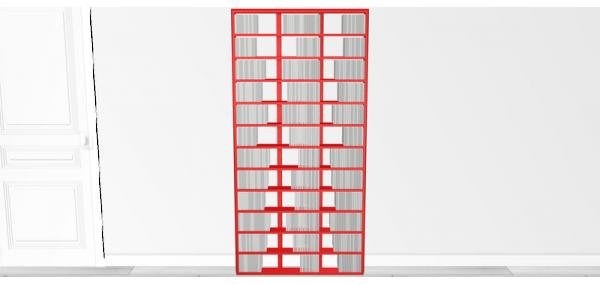 Bibliothèque design Walldisc bois laqué rouge - 90x184,6cm
