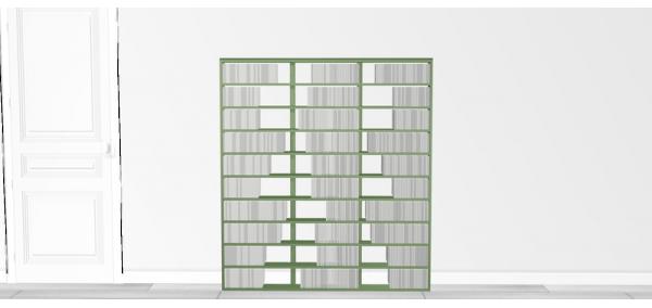 Bibliothèque design Walldisc bois laqué vert - 140x154,5cm