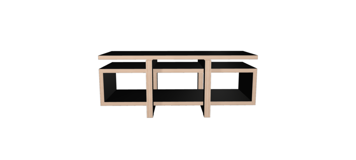 Meuble hifi noir LOW avec plateau bois laqué noir - 160x65cm