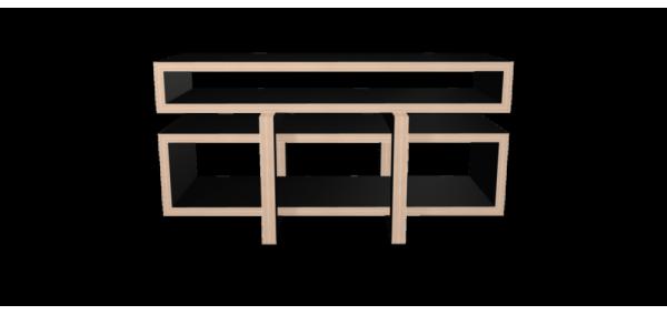 Meuble hifi noir LOW avec caisson bois laqué noir - 155x84cm