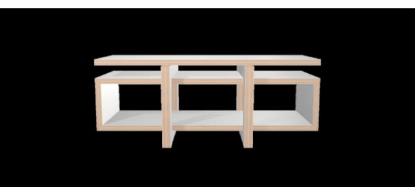 Meuble hifi blanc LOW avec plateau bois laqué blanc - 160x65cm