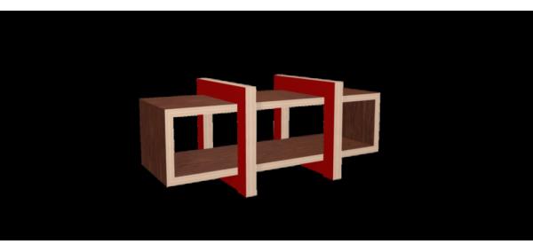 Meuble hifi design LOW chêne et piétement bois laqué rouge - 140x60cm