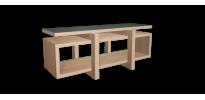 Meuble hifi design LOW avec plateau chêne et bois laqué gris - 170x65cm