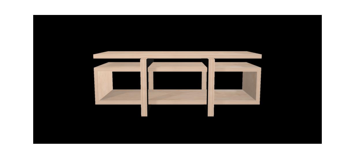 Meuble hifi design LOW avec plateau Bouleau et Piétement Bois Laqué Noir - 170x65cm