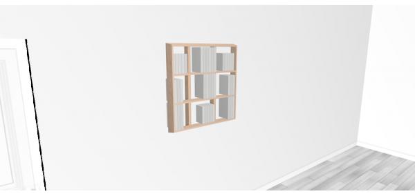 Etagère pour livre Wallbook Suspendue bouleau brut - 80x82,5cm