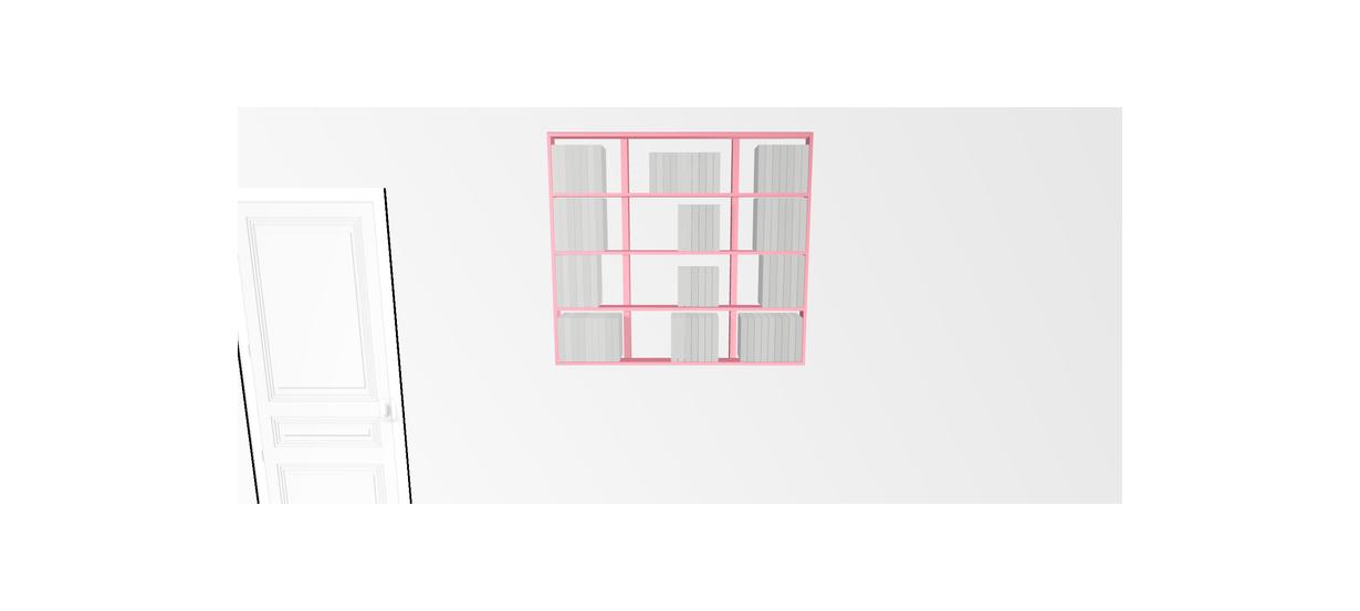 Etagère pour livre Wallbook Suspendue bois laqué rose clair - 120x108,5cm