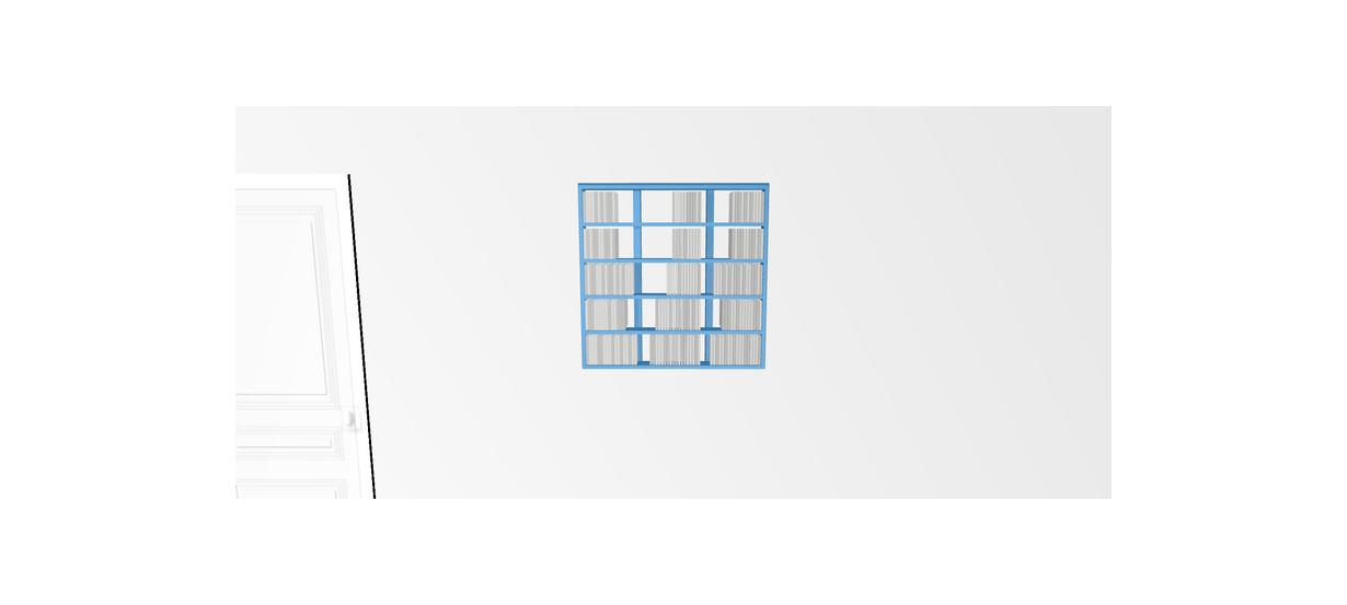 Etagère cd Walldisc Suspendue bois laqué bleu clair - 80x79,5cm