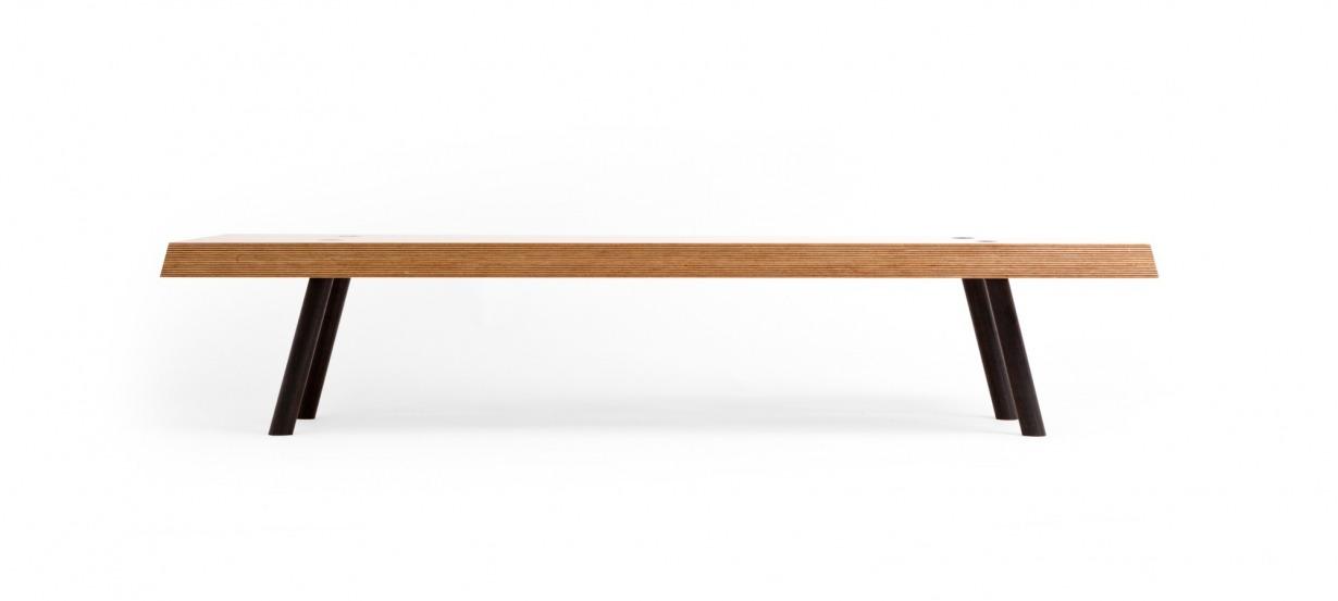Table basse multiplis de bouleau et acier